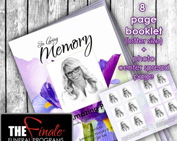 8 page booklet Iris You Were Still Here ... (printable funeral program template) + photo center-spread page, Microsoft Word Document
