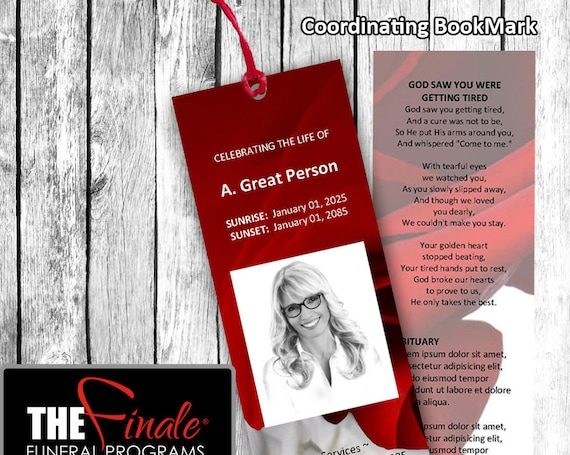 RED and WHITE ROSEVILLE BookMark ... (matching printable bookmark template) Microsoft Word Document