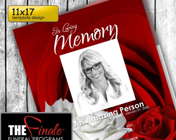 11x17 RED and WHITE ROSEVILLE ... (printable funeral program template) + free title font included, Microsoft Word Document