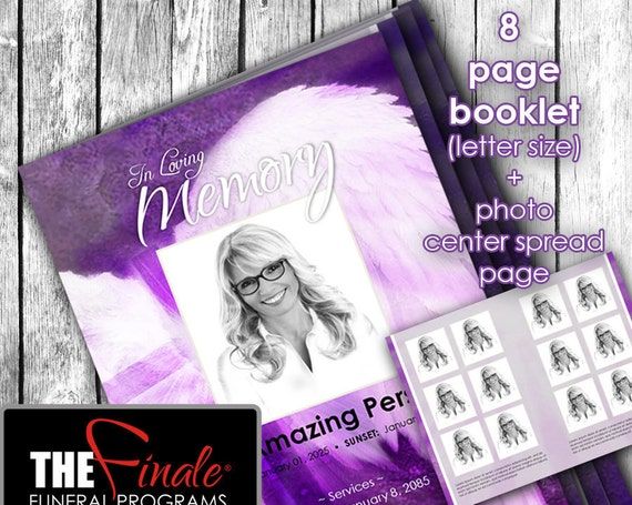 8 page booklet Angelic Wings Shades of Purple ... (printable funeral program template) + photo center-spread page, Microsoft Word Document