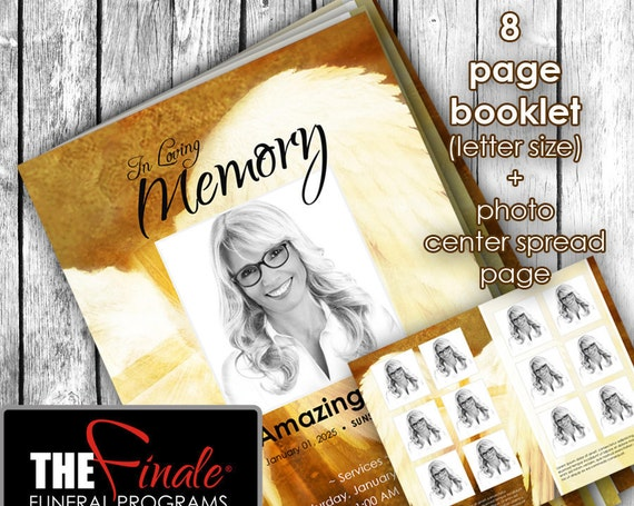 8 page Angelic Wings Shades of Gold ... (printable funeral program template) + photo center-spread page, Microsoft Word Document