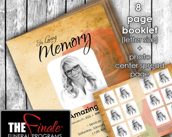8 page booklet THE VINTAGE Rose RED ... (printable funeral program template) + photo center-spread page, Microsoft Word Template