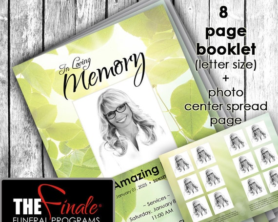 8 page Nature's Light ... (printable funeral program template) + photo center-spread page, Microsoft Word Document