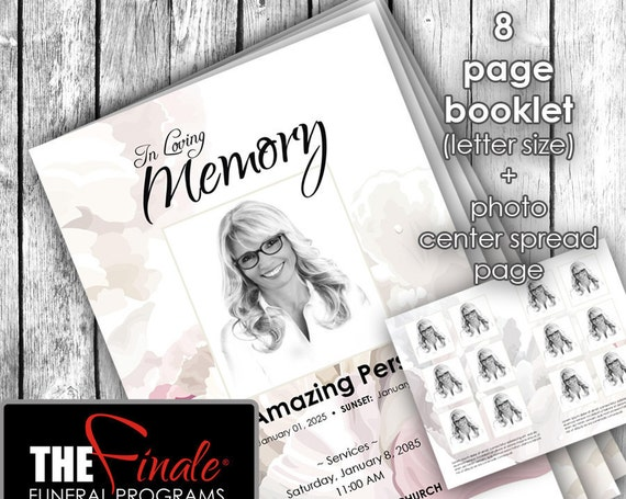 8 page booklet SOFT FLORAL FRAGRANCE ... (printable funeral program template) + photo center-spread page, Microsoft Word Document