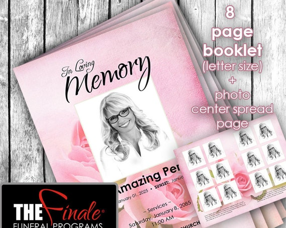 8 page THE BLUSHING ROSES ... (printable funeral program template) + photo center-spread page, Microsoft Word Document
