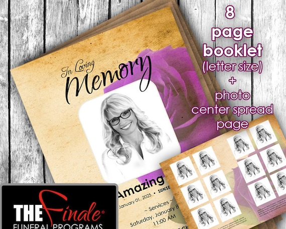 8 page booklet THE VINTAGE Purple ROSE ... (printable funeral program template) + photo center-spread page, Microsoft Word Template
