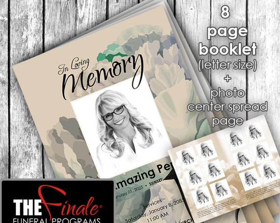 8 page booklet VINTAGE PEONIES ... (printable funeral program template) + photo center-spread page, Microsoft Word Document