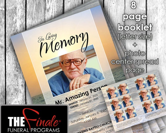 8 page True Sunset ... (printable funeral program template) + photo center-spread page