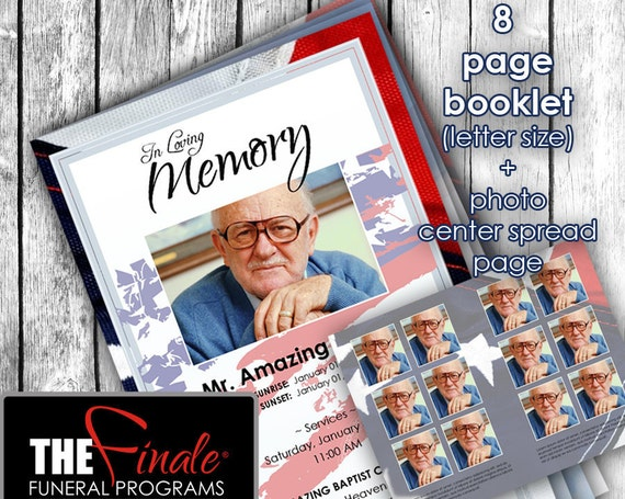 8 page Military 1001 ... (printable funeral program template) + photo center-spread page, Microsoft Word Document