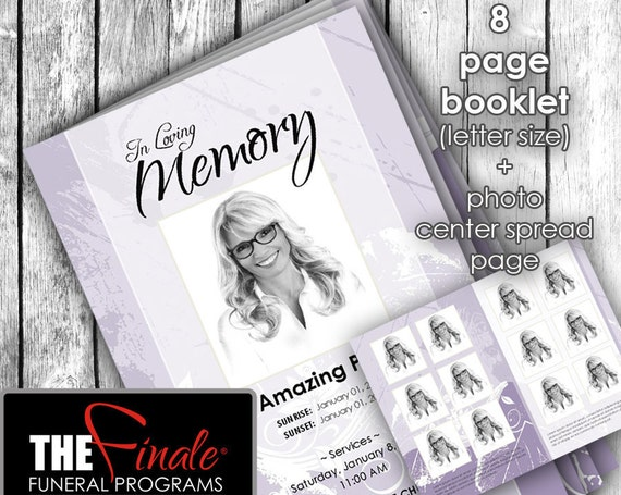 8 page booklet SHADES OF PURPLE ... (printable funeral program template) + photo center-spread page, Microsoft Word Document
