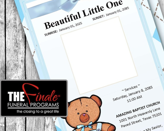 BLUE BABY BEAR ... (printable funeral program template)