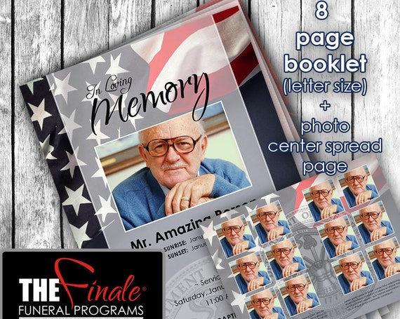 8 PAGE BOOKLET The Pride of the Military ARMY ... (printable funeral program template) + photo center-spread page, Microsoft Word Document