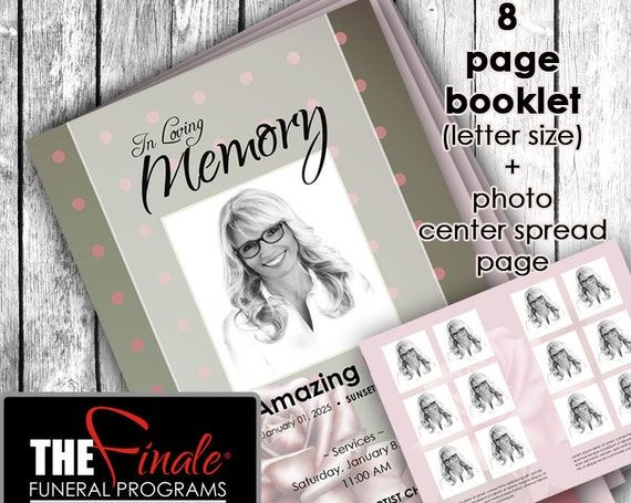 8 page booklet CLASSIC ROSE ... (printable funeral program template) + photo center-spread page