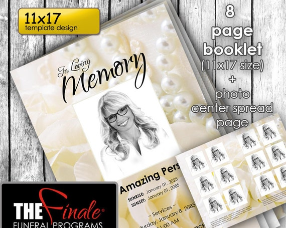 11x17  8 page Booklet A TOUCH of ELEGANCE ... (printable funeral program template) + photo center-spread page, Microsoft Word Document