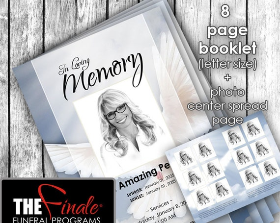 8 page booklet HEAVENLY DOVE BLUE ... (printable funeral program template) + photo center-spread page, Microsoft Word Document