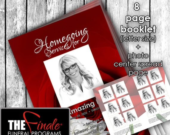 8 page RED and WHITE ROSEVILLE with photo center spread... (printable funeral program template) Microsoft Word Document