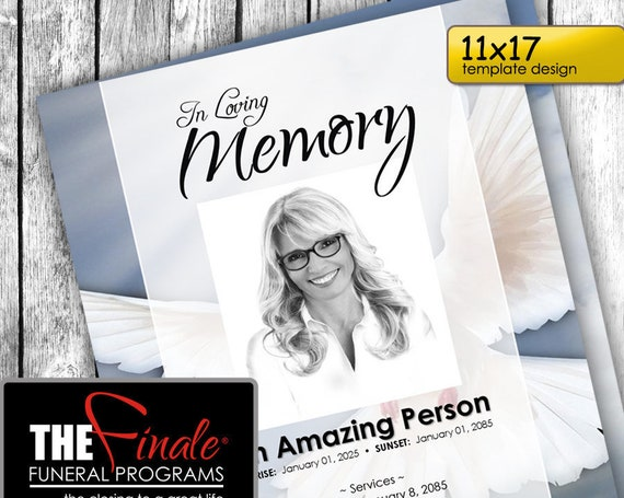 11x17 HEAVENLY DOVE ... (printable funeral program template) + free title font included, Microsoft Word Document