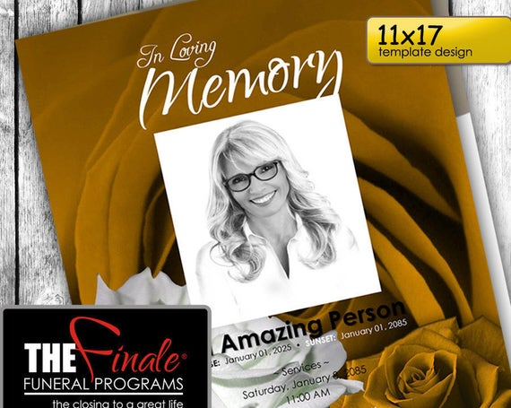 11x17 GOLD and WHITE ROSEVILLE ... (printable funeral program template) + free title font included, Microsoft Word Document