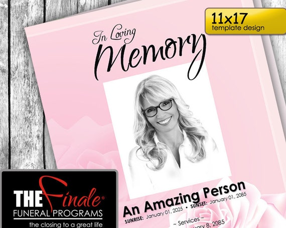 11x17 PINK ROSE ... (printable funeral program template) + free title font included, Microsoft Word Document