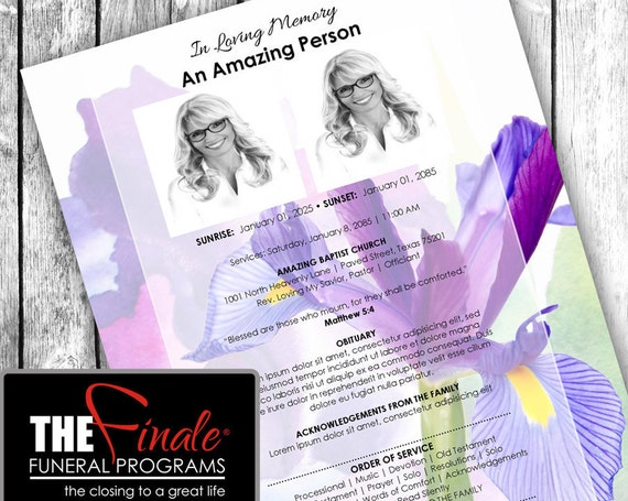 Iris You Were Still Here ONE PAGER ... (printable funeral program template) Microsoft Word Document