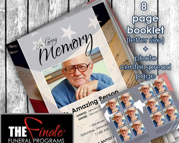 8 page booklet American Flag and Constitution ... (printable funeral program template) + photo center-spread page, Microsoft Word Document