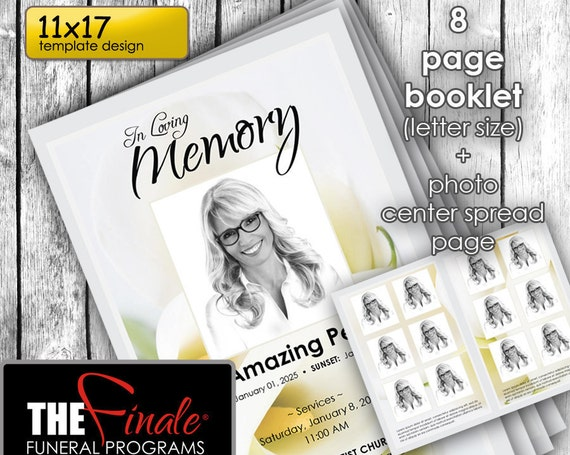 11x17  8 page Soft Floral ... (printable funeral program template) + photo center-spread page, Microsoft Word Document