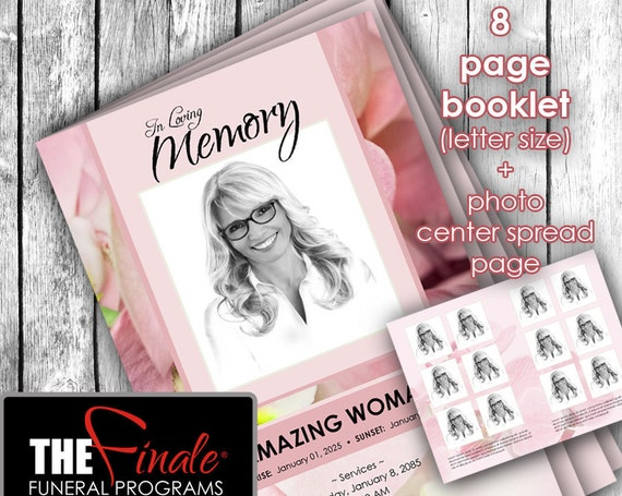 8 page SOFT PINK ORCHIDS ... (printable funeral program template) + photo center-spread page, Microsoft Word Document