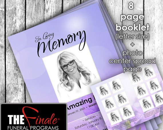 8 page booklet UNDERSTATED ROYALTY ... (printable funeral program template) + photo center-spread page, Microsoft Word Document