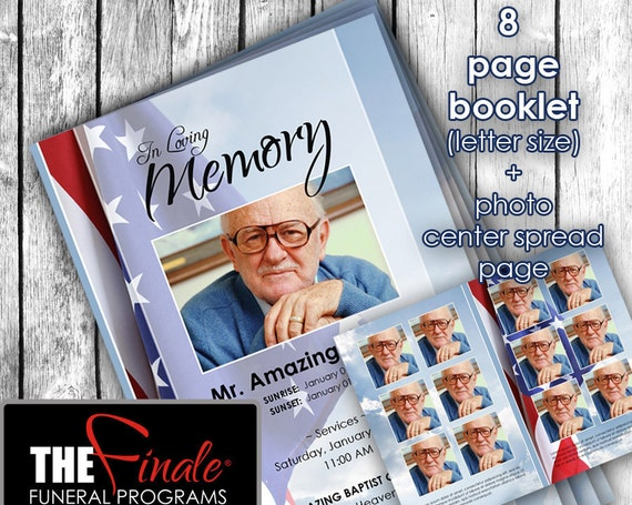 8 page Heavenly Stars and Stripes ... (printable funeral program template) + photo center-spread page, Microsoft Word Document