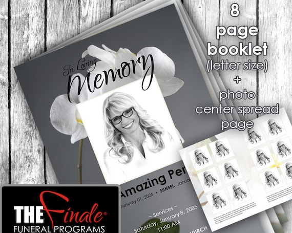 8 page booklet DIVINE ORCHIDS ... (printable funeral program template) + photo center-spread page, Microsoft Word Document