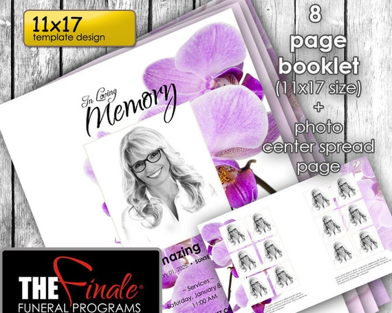 11x17  8 page booklet PURPLE ORCHIDS ... (printable funeral program template) + photo center-spread page, Microsoft Word Document