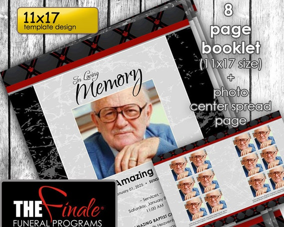 11x17 8 page booklet BLACK MARBLE with Red BURGUNDY ... (printable program template) + photo center-spread page, Microsoft Word Document