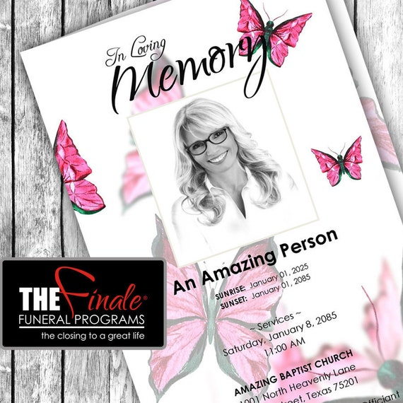 Pink Butterfly Wings ... (printable funeral program template) Microsoft Word Template