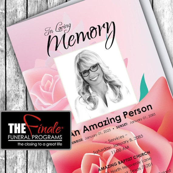 PINK BEAUTY ... (printable funeral program template) Microsoft Word Document