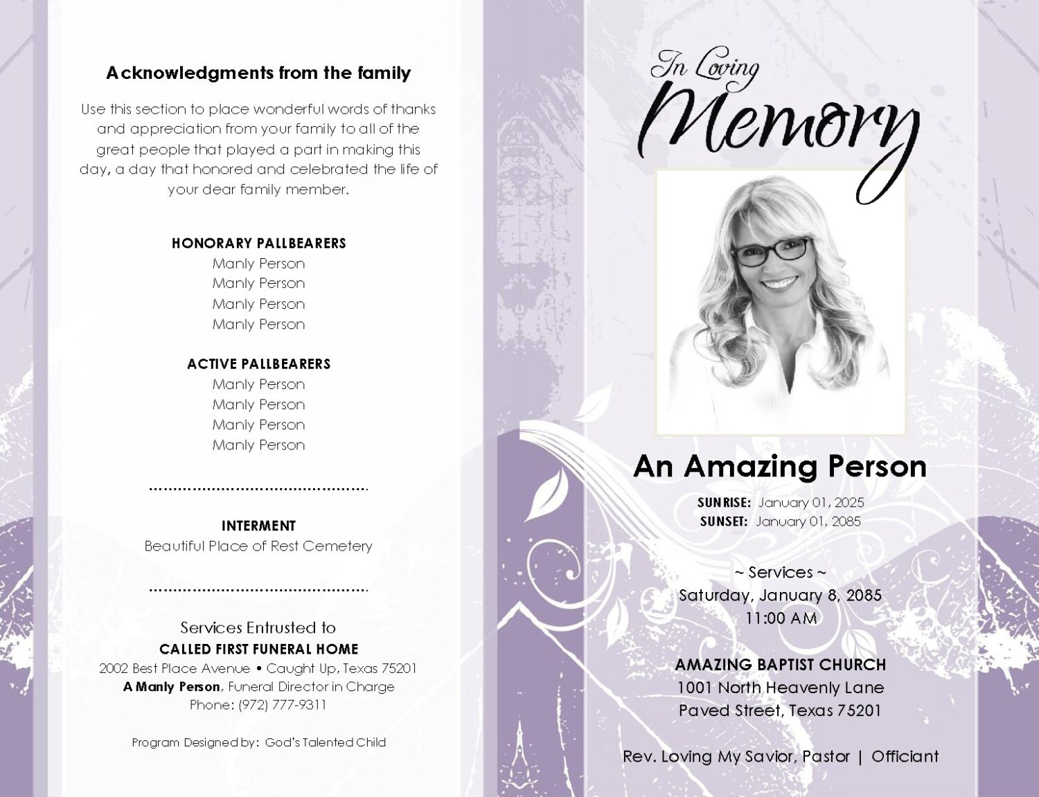 8 page booklet shades of purple printable funeral program