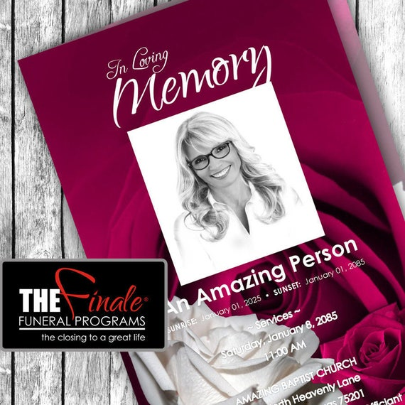 FUSCHIA and WHITE ROSEVILLE ... (printable funeral program template) + free title font included, Microsoft Word Document