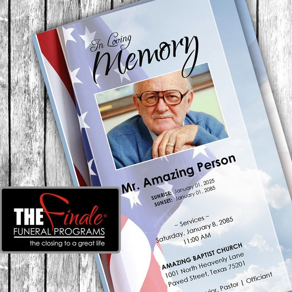 HEAVENLY STARS and STRIPES ... (printable funeral program template) Microsoft Word Document