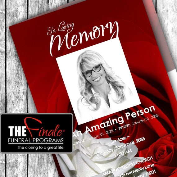 RED and WHITE ROSEVILLE ... (printable funeral program template) + free title font included