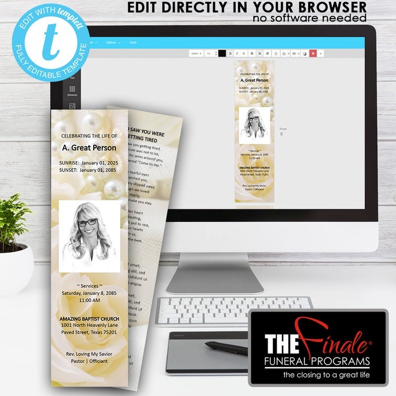 A Touch of ELEGANCE BookMark     (matching printable template)     EDIT  Directly in your Browser, No Software Needed, Quick and Easy to Edit