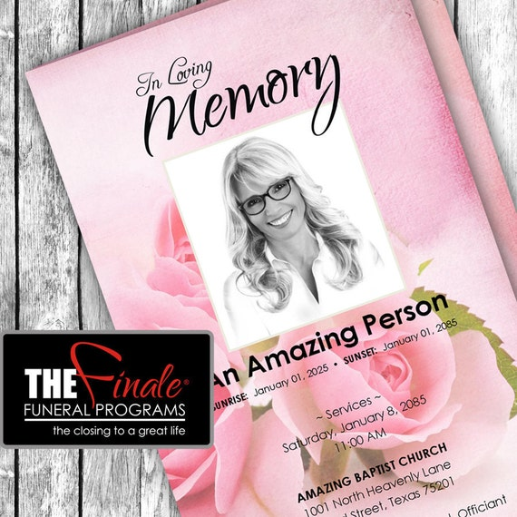 THE BLUSHING ROSES ... (printable funeral program template) Microsoft Word Document
