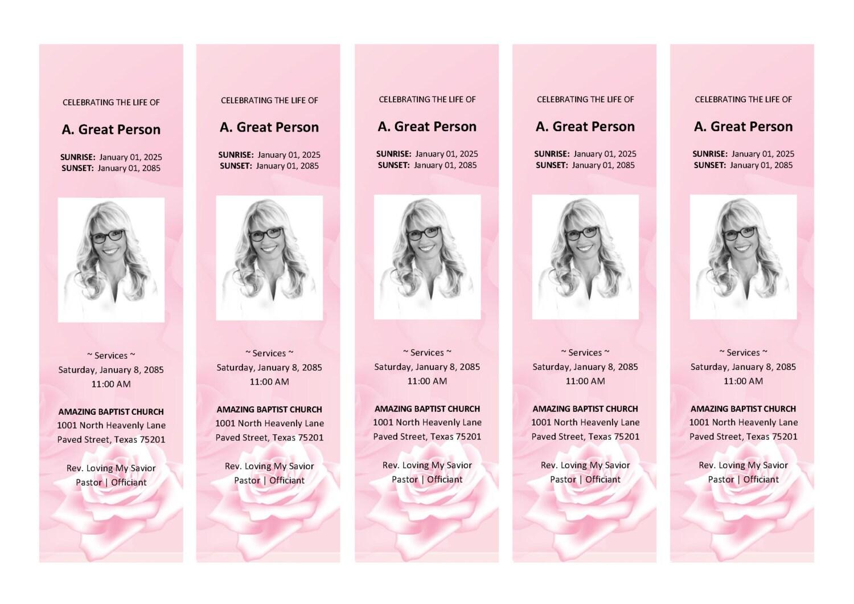 pink rose bookmark      matching printable bookmark template  microsoft word template