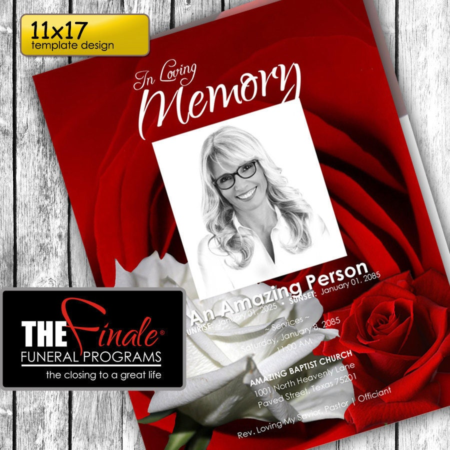 11x17 red and white roseville printable funeral program