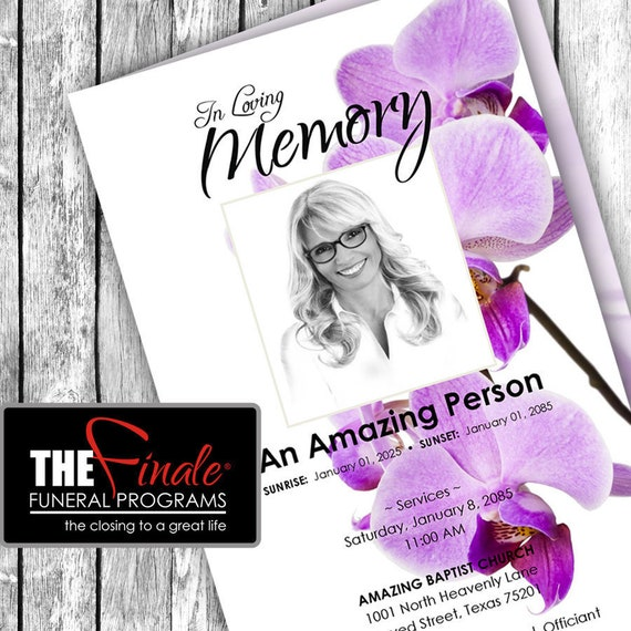 Purple Orchids ... (printable funeral program template) Microsoft Word Template