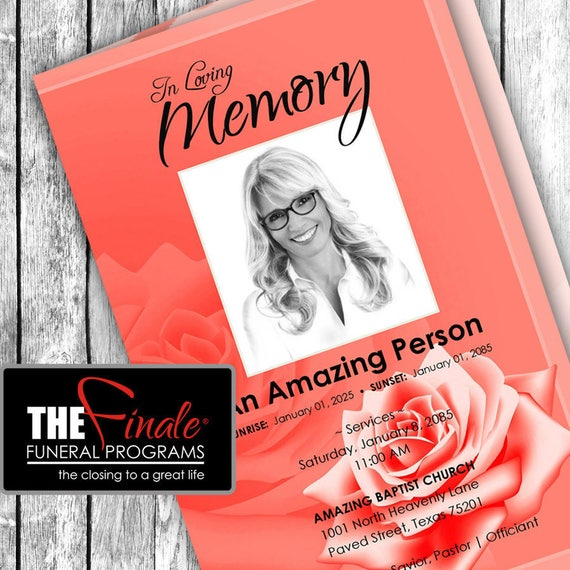 SOFT RED ROSE ... (printable funeral program template) Microsoft Word Document