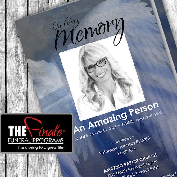 ANGELIC WINGS ... (printable funeral program template) Microsoft Word Document