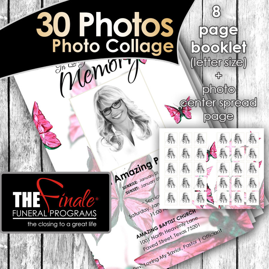 8 page booklet pink butterfly wings 30 photos center spread