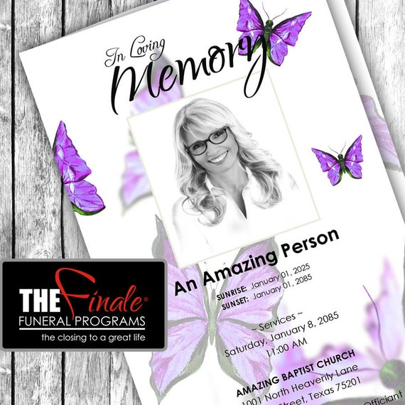 Purple Butterfly Wings ... (printable funeral program template) Microsoft Word Template