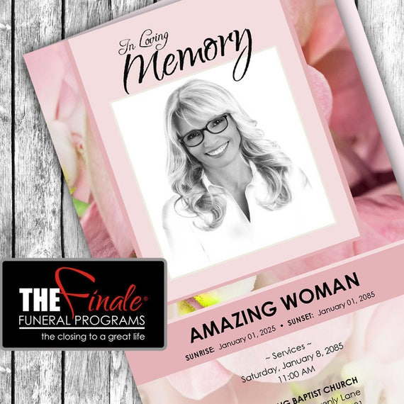 SOFT PINK ORCHIDS ... (printable funeral program template) Microsoft Word Document