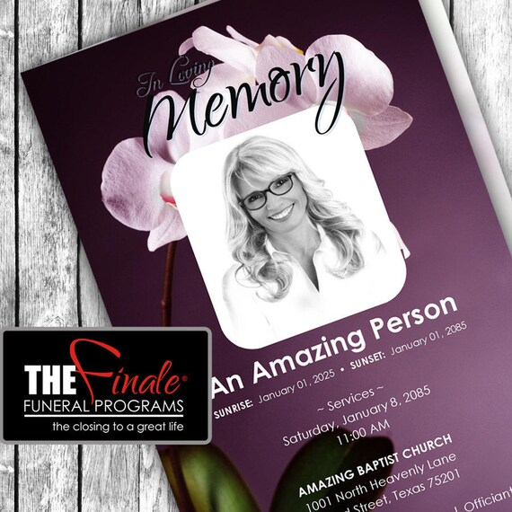 DIVINE ORCHIDS PLUM ... (printable funeral program template) Microsoft Word Document