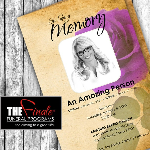 THE VINTAGE ROSE Purple ... (printable funeral program template) Microsoft Word Document